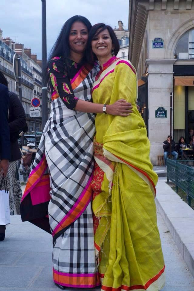 Plaid sari! gorgeous women