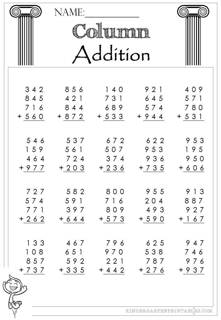 Three Digit Column Addition 4 addends worksheets