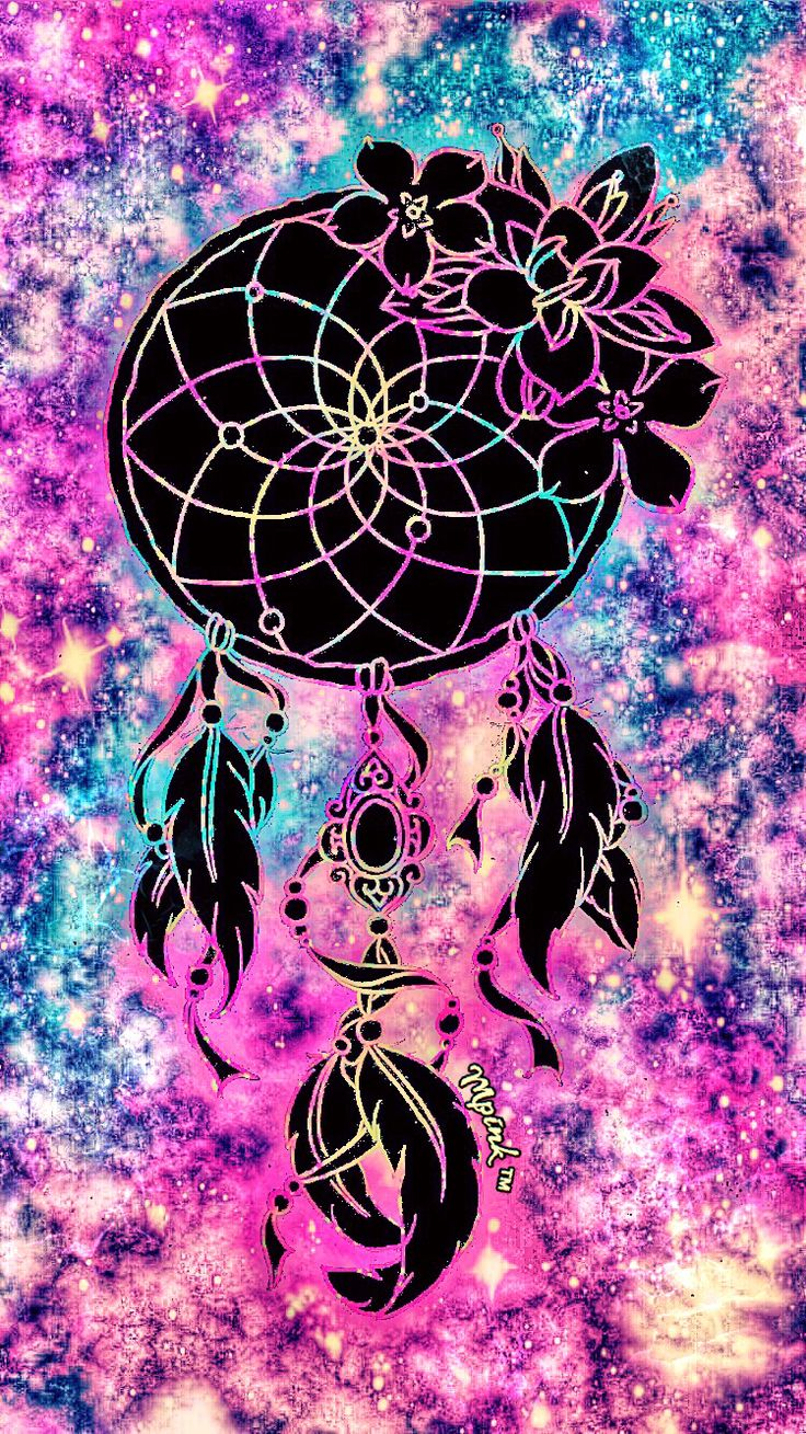 Pretty Neon Dreamcatcher Galaxy Wallpaper #androidwallpaper #iphonewallpaper #wallpaper #dreamcatcher #colorful #flowers #lockscreen
