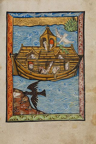 The scrollwork in the narrow borders seems to echo the rhythm of the waves. Noahs Ark (Getty Museum)
