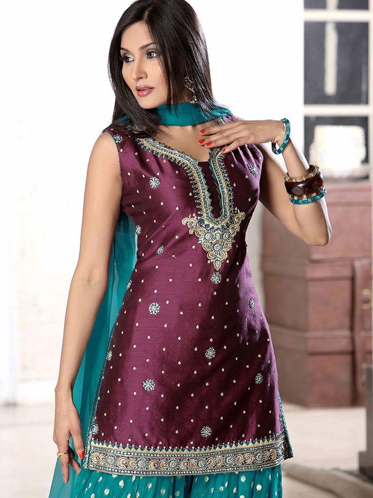 Wine Art silk Salwar kameez with Dupatta