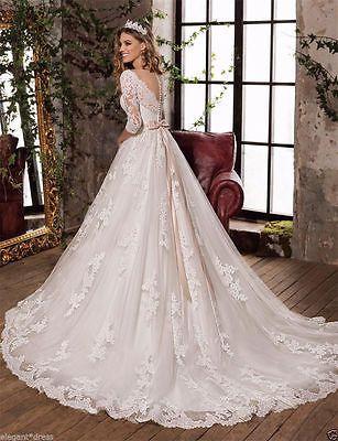 New White/Ivory Lace Wedding Dress Bridal Ball Gown Custom Size 6-8-10-14-16+++