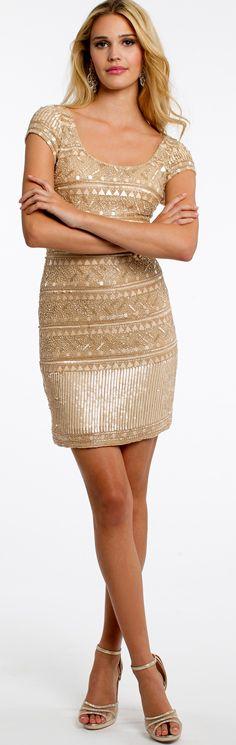 Cap Sleeve Beaded Short Dress With Open Back #camillelavie