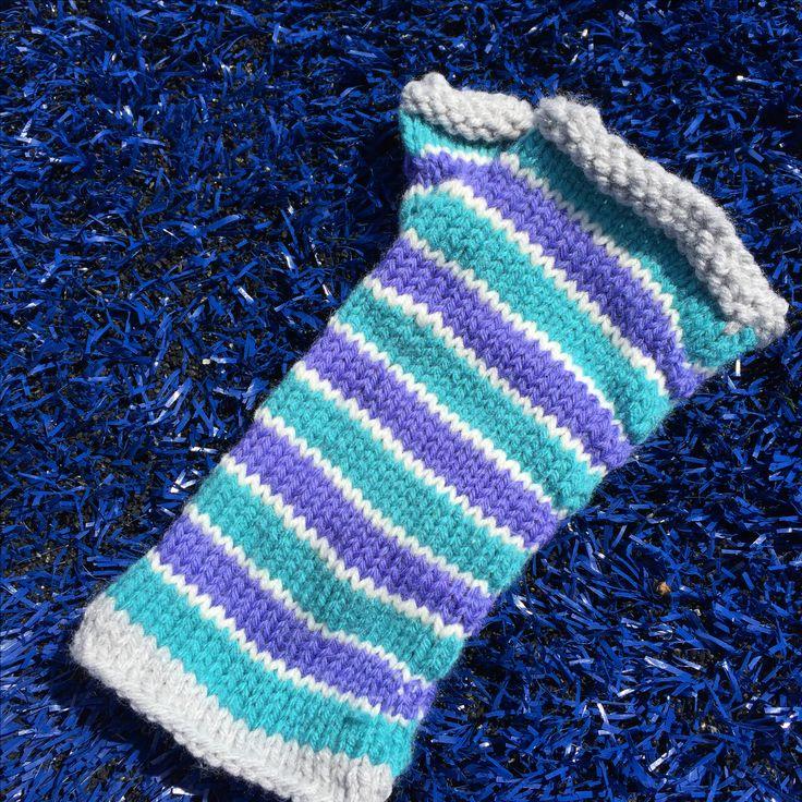 Twinkler hand knit striped fingerless gloves