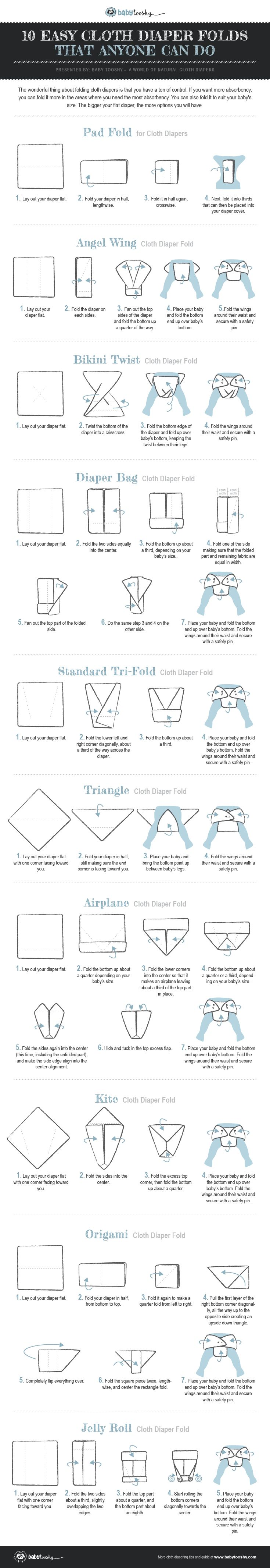 Flat diapers are great because you can do all kinds of flat diaper folds. This post has 10 flat diaper folds with easy instructions, images and videos to help you.