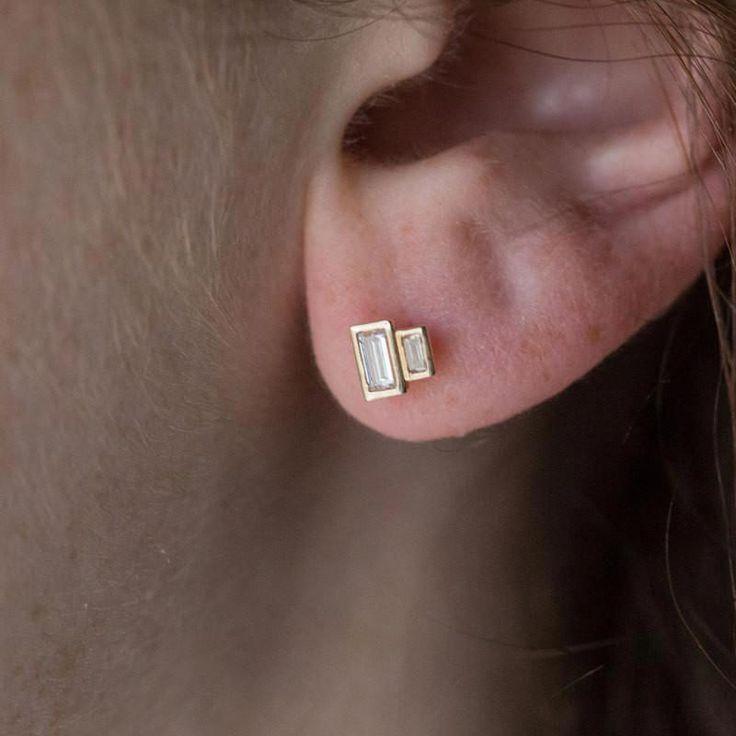 Baguette diamond earrings – geometric recycled diamond earrings – modern diamond studs – minimalist- Reclaimed diamonds
