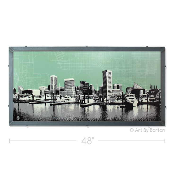 Maryland Map Coordinates%0A Baltimore Skyline with City Map