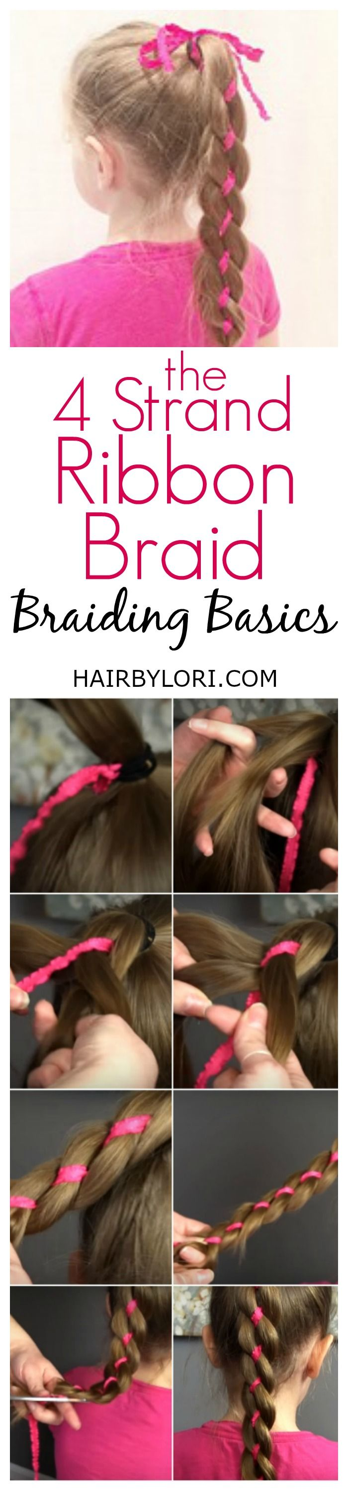 Gorgeous 4 Strand Ribbon Video Tutorial. Easy style for sports or school.