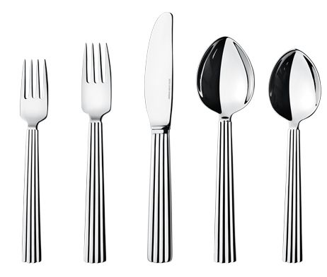 Georg Jensen-BERNADOTTE 5pc(011, 012, 014, 021, 022)   The set contains one each of dinner spoon (3609011), dinner fork (3609012), long dinn...