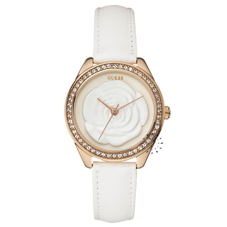 GUESS Crystal Pink Rose White Leather Strap Η τιμή μας: 145€ http://www.oroloi.gr/product_info.php?products_id=26031