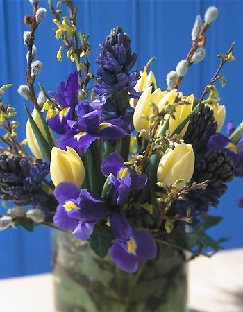 Blue hyacinths and irises with yellow tulips and forsythia branches. Pussy-willow also adds depth and texture to this spring floral arrangement.