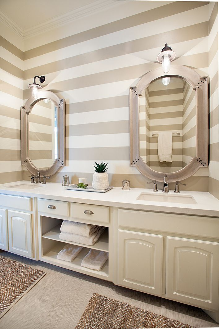 mirrors on striped wall, or stencil, like the towel storage shelves