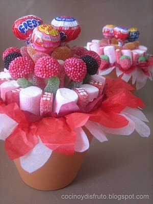 Fiestas con encanto: Ideas para brochetas de chuches - en maceta