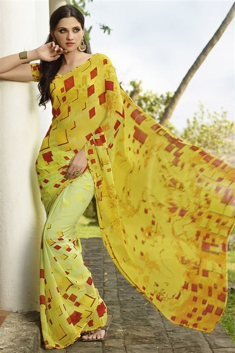 Divine Yellow Georgette Geometric Print Saree