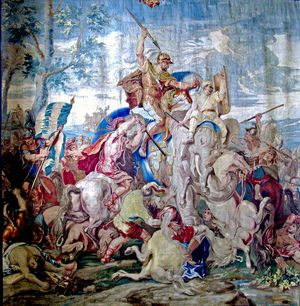 The Battle of Gaugamela: took place in 331 BC between Alexander the Great and Darius III of Persia.  Flemish Tapestry @Jess Pearl Pearl Pearl Liu zheng.wikipedia