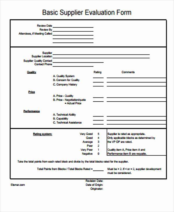 Vendor Evaluation Form Luxury Sample Supplier Evaluation Form 6