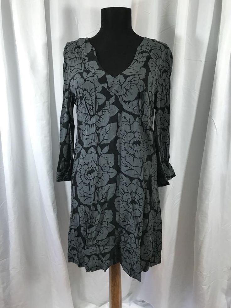 Boden Britain Floral Black Gray Viscose 3/4 Bell Sleeve Tunic Dress UK 12 / US 8 #Boden #TunicDress