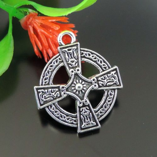 20PCS Antiqued Silver Vintage Alloy Cross Round Pendant Charms 23*20*3mm