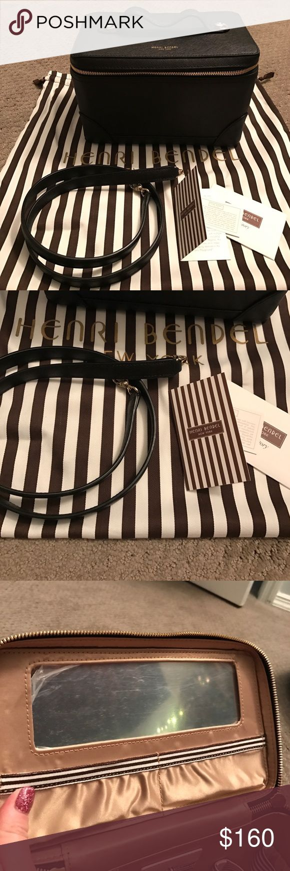 """NWOT Henri Bendel W 57th Train Case NWOT Henri Bendel W 57th Train Case - SOLD OUT - Purchased and never used. Mirror Protector sticker is still on! Black saffiano leather with gold accents. Includes dust bag, Henri Bendel care and brand story cards, and attachable shoulder strap. Slip pockets around 3 sides of inside of case and elastic band on back to keep slightly items in place. Approximately 9"""" length and 6"""" tall and 5"""" wide. Shoulder strap approximately 34"""" long. Same bag used as a…"""