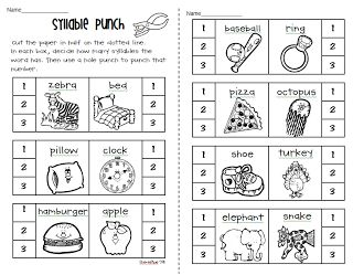 Printables Syllable Worksheets 1000 ideas about syllables kindergarten on pinterest free syllable worksheets hole punching and coloring from petersons pad