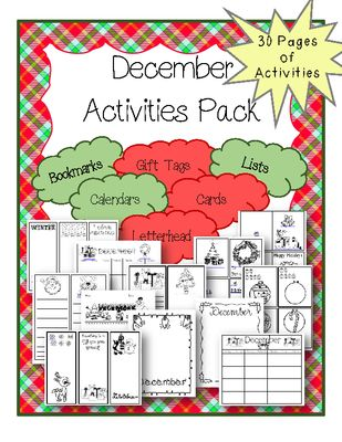 December Activities Packet from The Resourceful Teacher on TeachersNotebook.com -  - This December Packet is filled with 30 activities for your students like: - Calendars - Lists - Writing Pages - Cards - Gift Tags - Bookmarks - Letterhead - Winter & Christmas