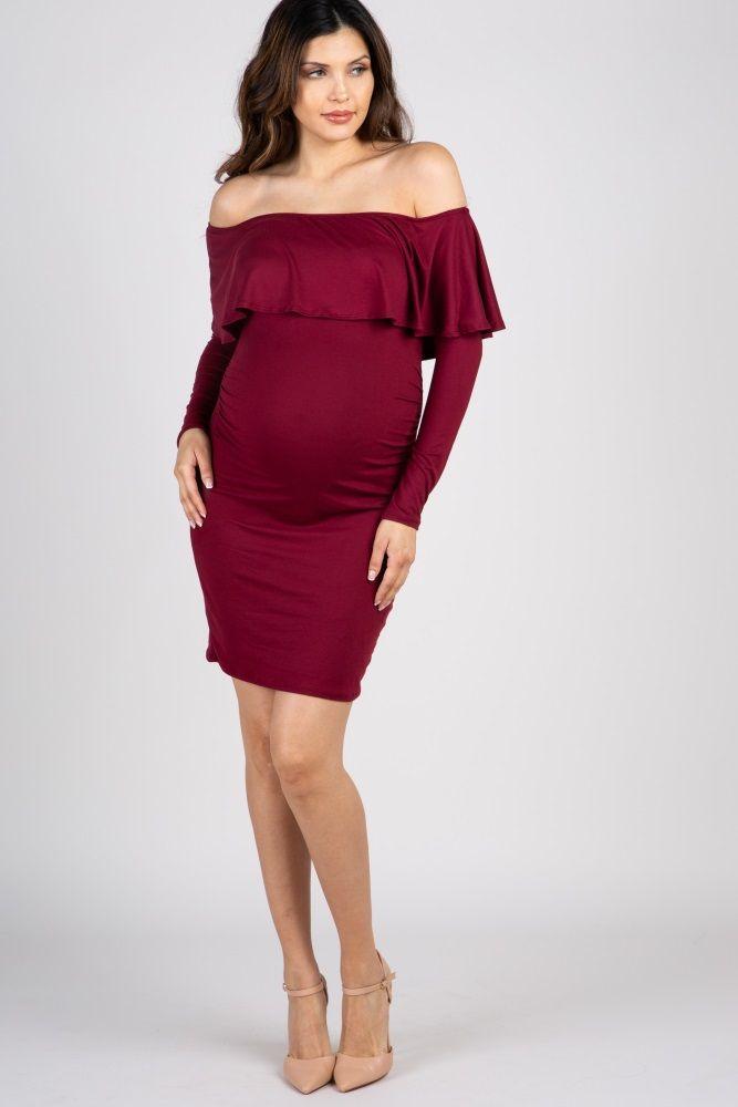 2c3e7ce4a134d Burgundy Ruffle Trim Off Shoulder Fitted Maternity Dress in 2019 ...