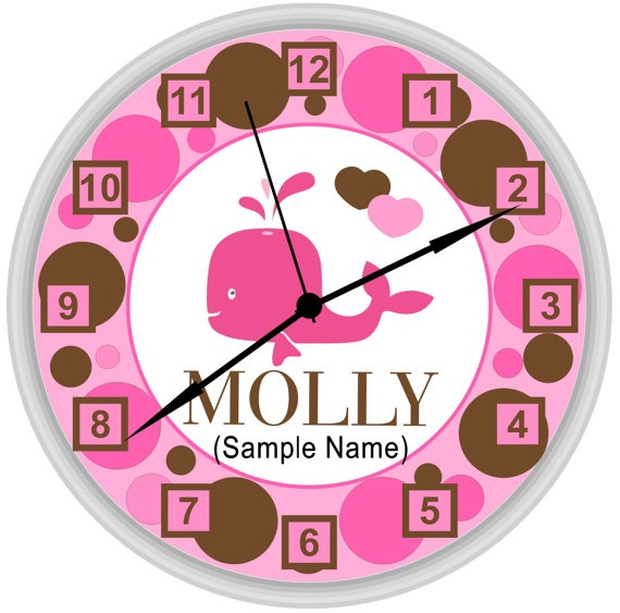 Pink And Brown Polka Dots With Pink Whale Custom Wall Clock Personalized  For Girls Bedroom Decor