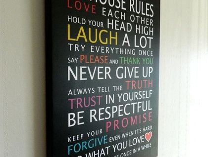 Coloured House Rules with Hearts on canvas!