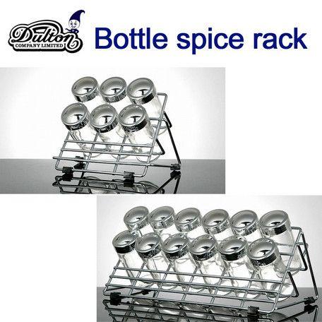 ナチュラルデザインのボトルスパイスラック☆スパイスを綺麗に収納できるお洒落なボトルスパイスラック。キッチン周りがスッキリ片付きますので料理好きな方にオススメです!!
