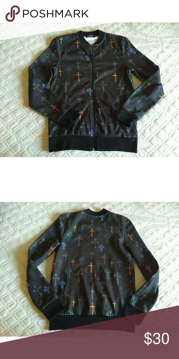 "Topman jacket Crosses design Say xxs but xs or small is fine,  18"" pit to pit 22"" collar Topman Jackets & Coats"