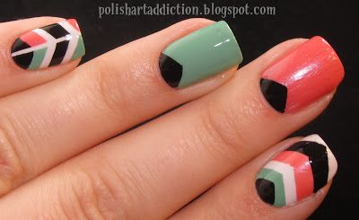 Polish Art Addiction: Mint & Coral Chevrons nail art