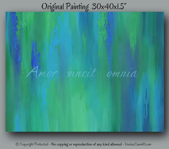 Large abstract painting for green, blue, and teal decor. Amor vincit omnia which means Love conquers all. Art by Denise Cunniff - ArtFromDenise.com. View this listing at https://www.etsy.com/listing/164856429/large-wall-art-large-canvas-abstract