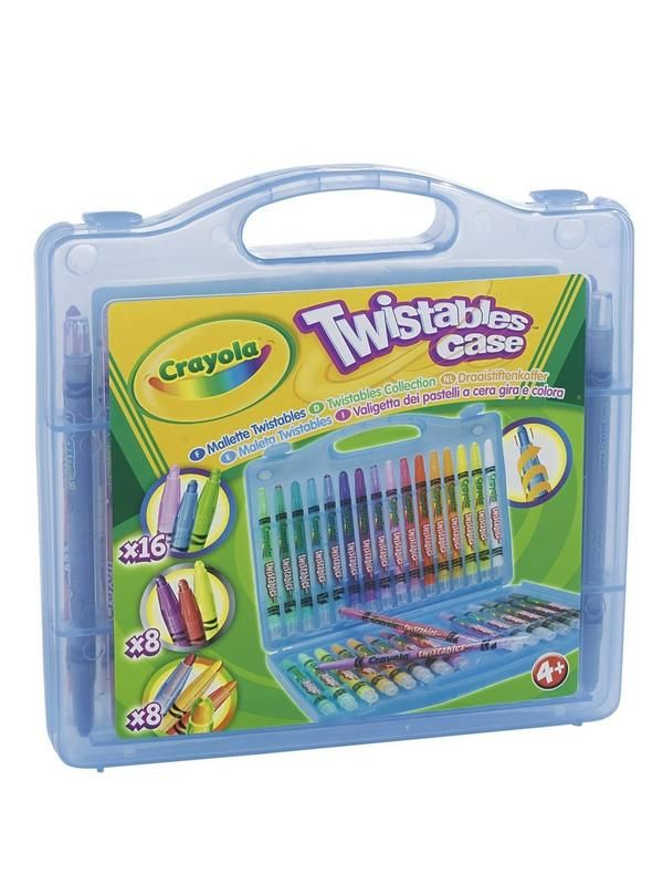 Crayola CRAYOLA TWISTABLE CASE The Crayola Twistables Case will get your young artist's imagination spinning. With 32 twistable crayons, including rainbow and metallic colours, this is the perfect gift for budding artists. The twistable barrel means no more hunting for a pencil sharpener – simply twist to bring out more of the crayon.The carry case means they can take their crayons wherever they go for creativity on the move, while the wide selection colours means the only limit is their ...