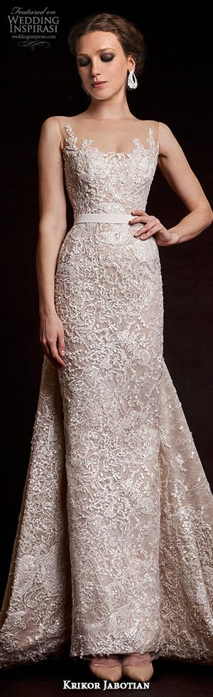 krikor jabotian bridal spring 2015 sleeveless column wedding dress illusion neckline front view #sheathweddingdress