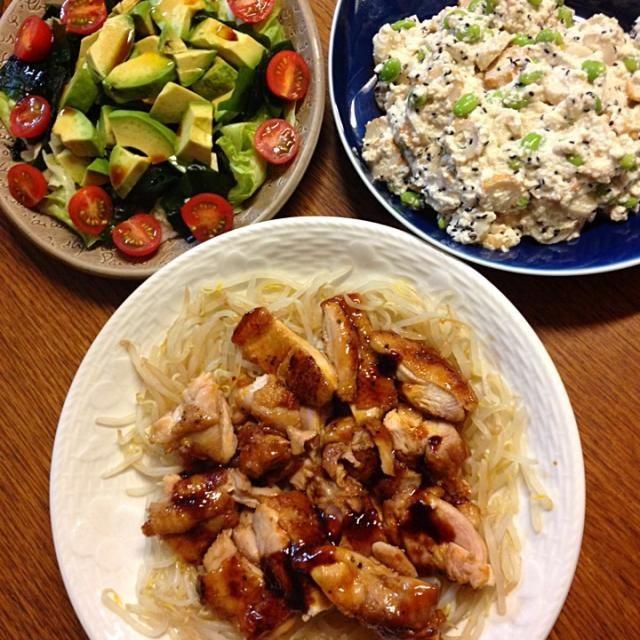 今日のサラダはアボカド、レタス、わかめ、プチトマトです*\(^o^)/* - 4件のもぐもぐ - ★チキンステーキ(もやし添え)★枝豆とちくわの白和え★サラダ by kate397