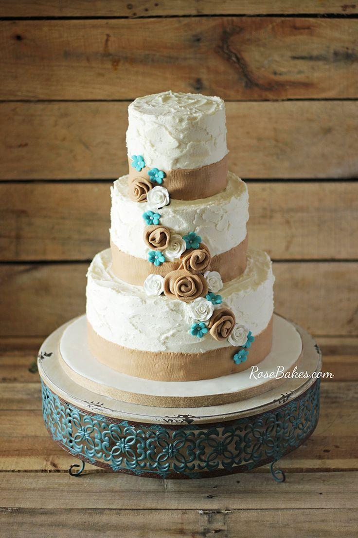 Rustic Burlap Turquise Flowers Wedding Cake Rose Bakes Country Wedding Cakes Turquoise Wedding Cake Floral Wedding Cakes