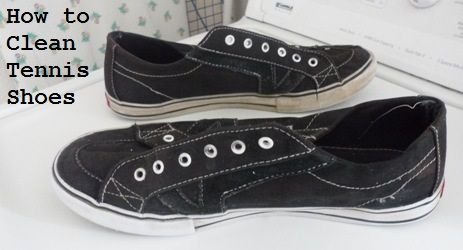 washing converse tennis shoes in washing machine.  Use Mr Clean Eraser for the white rubber.