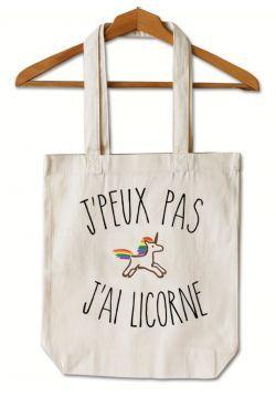 """Tote Bag """"Je peux pas j'ai licorne""""                                                                                                                                                                                 Plus"""