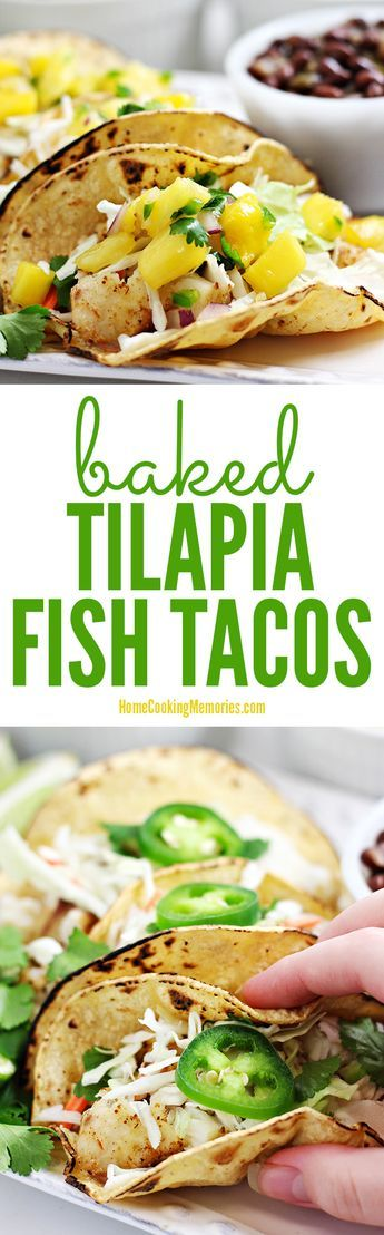 Baked Tilapia Fish Tacos recipe - easy dinner that takes 30 minutes or less to make. Seasoned tilapia fillets are baked in the oven until flaky, then filled into soft tortillas with your favorite taco toppings. Family favorite for taco night!