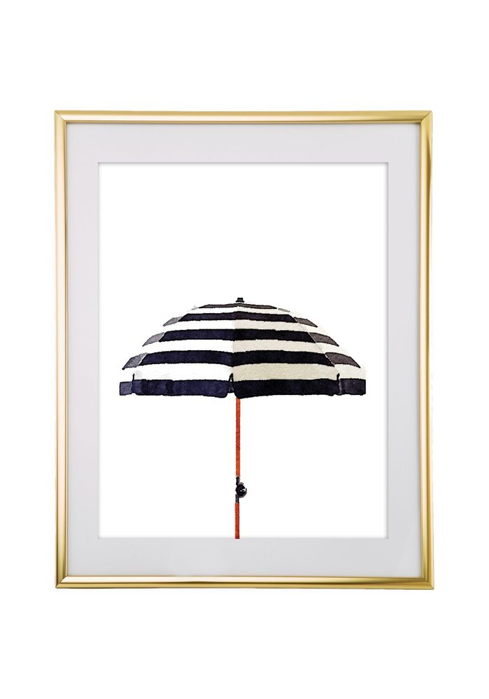 Download and print this Striped Watercolor Umbrella free printable wall art for your home or office!
