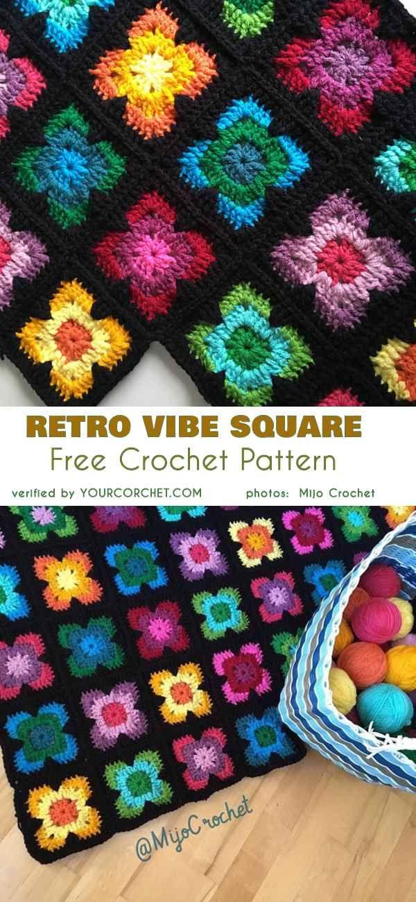 Granny Squares Twin Set Vintage Crochet Pattern Instructions