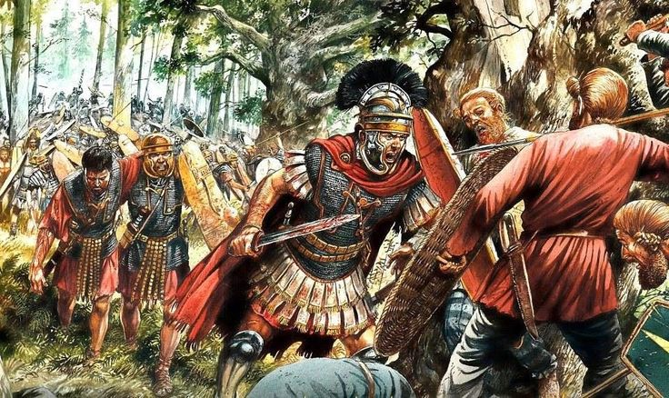 Roman legions in the forest of Teutoburg