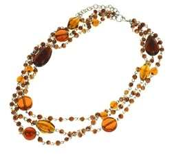Fair Trade Brown Glass Bead Multi Strand Necklace £11.95