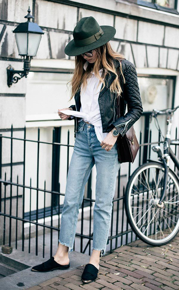 autumn street style - high waitsted jeans, white top, leather jacket, green hat