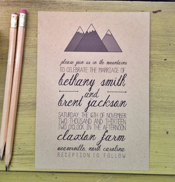 Mountain Wedding Invitation by housemanstationery on Etsy, $50.00