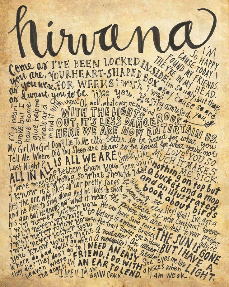 Nirvana Lyrics and Quotes - 8x10 handdrawn and handlettered print on antiqued paper rock music lyrics by mollymattin on Etsy