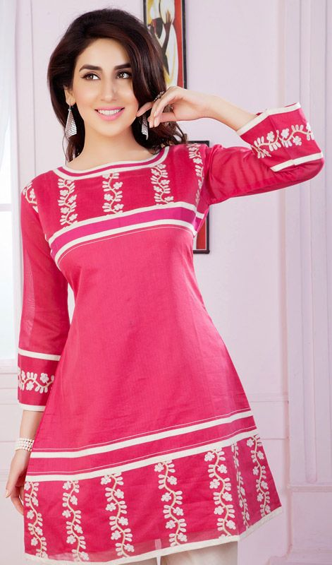 This trendsetter fuchsia chanderi cotton silk kurti is accenting the gorgeous feeling. The ethnic resham work on the dress adds a sign of elegance statement to your look. #TrendsetterTunic