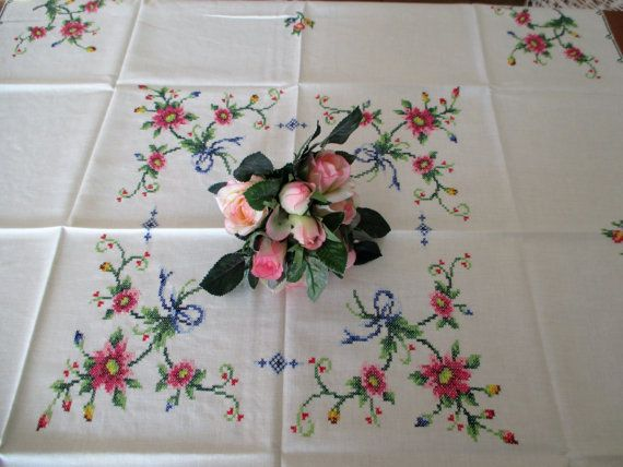 ON SALE 153. Vintage hand embroided cross stiched tablecloth