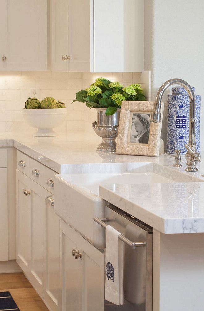 Thick White Quartzite Countertop + Farmhouse Sink. #WhiteQuartzite #Countertop AGK Design Studio.