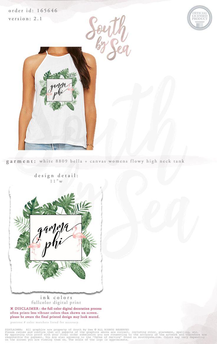 South by Sea | Greek Tee Shirts | Greek Tank Tops | Custom Apparel Design | Custom Greek Apparel | Sorority Tee Shirts | Sorority Tanks | Sorority Shirt Designs | Sorority Shirts | TShirts | Sorority T-Shirts | Classic | Custom Greek TShirts | Greek Life | Sorority Clothes | Sorority T-Shirt Ideas | Custom Designs | Custom | Custom Greek | Sorority | Custom Printed T-Shirts | Recruitment | Tropical | Flamingos | Palm Leaves | Palm Trees | Summer | High Neck Tank